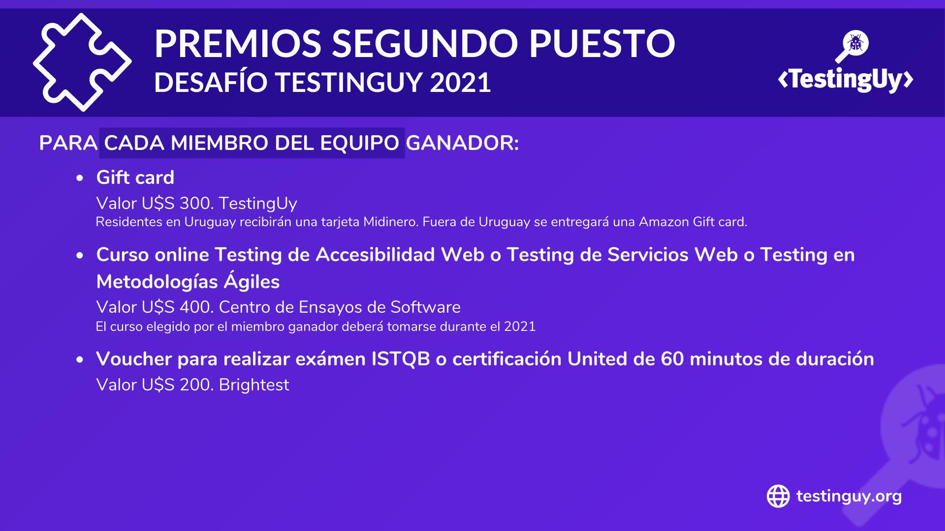 Desafio TestingUy 2021 - Premios Segundo puesto