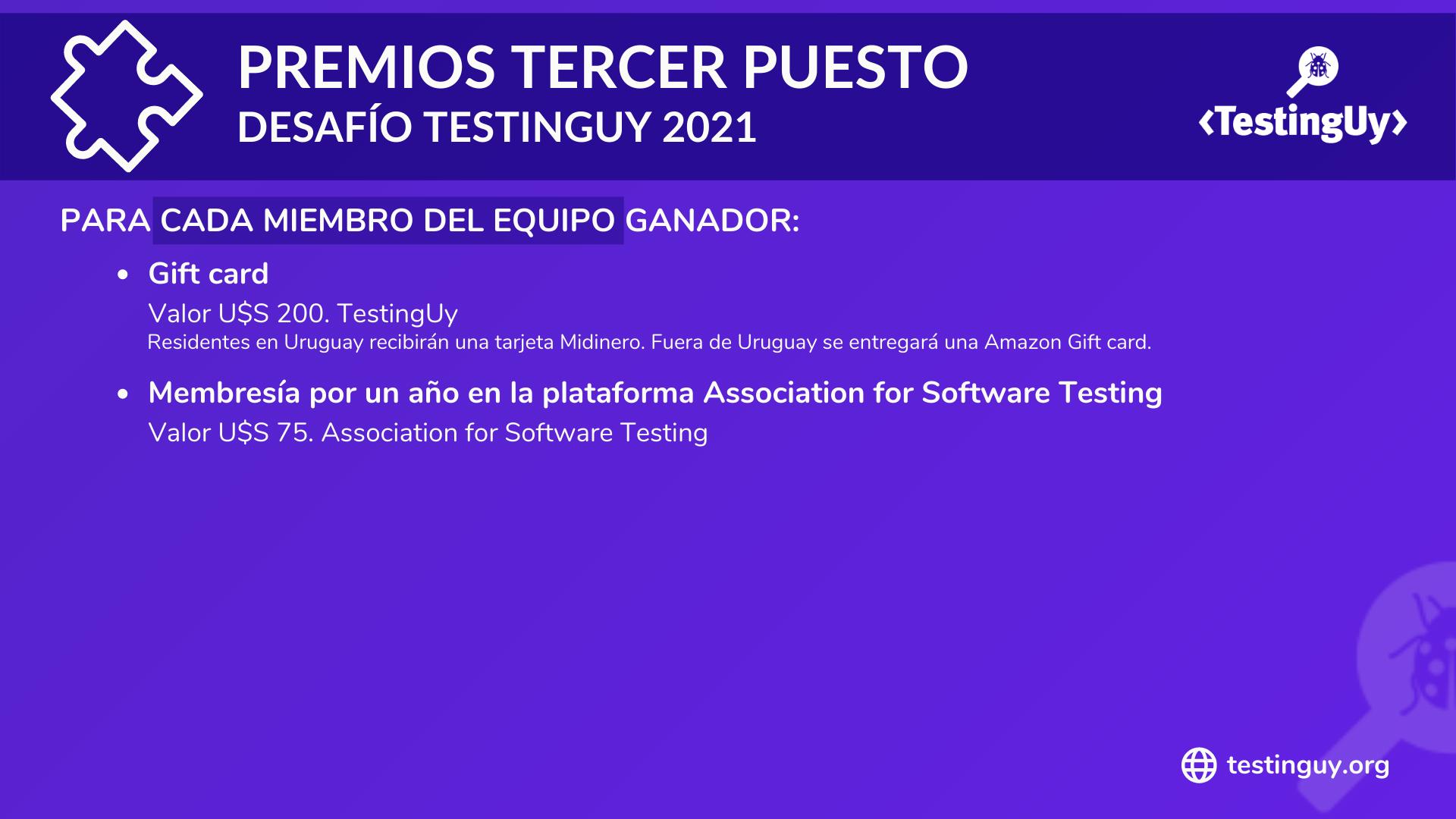 Desafio TestingUy 2021 - Premios Tercer puesto